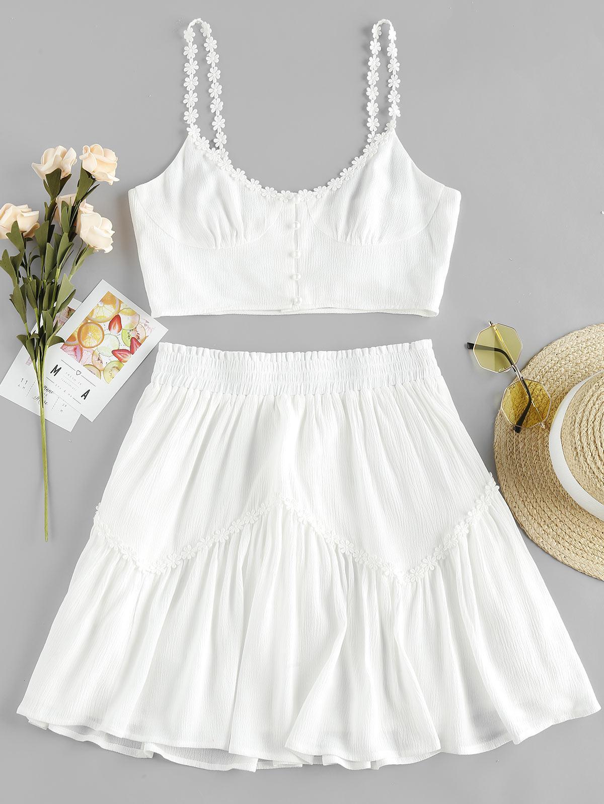 ZAFUL Flower Applique Button Up Mini Skirt Set