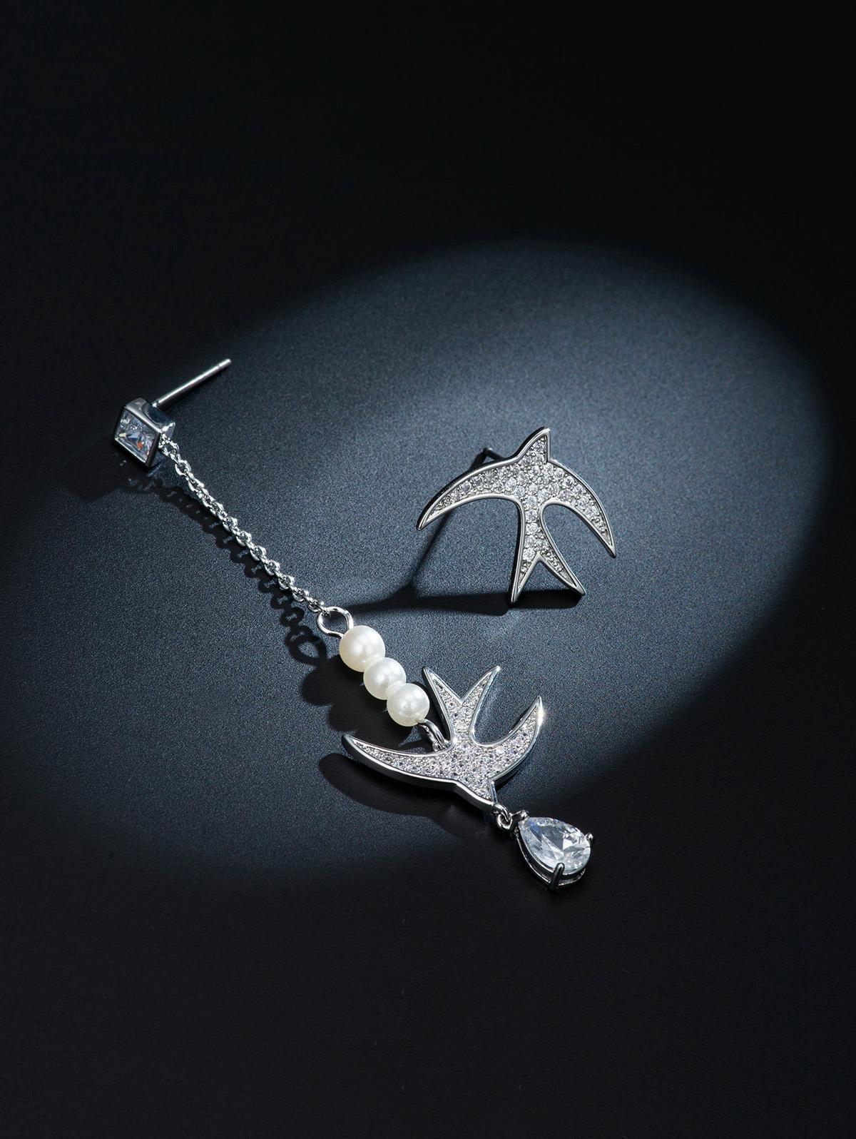 Birds Inlay Zircon Asymmetric Earrings