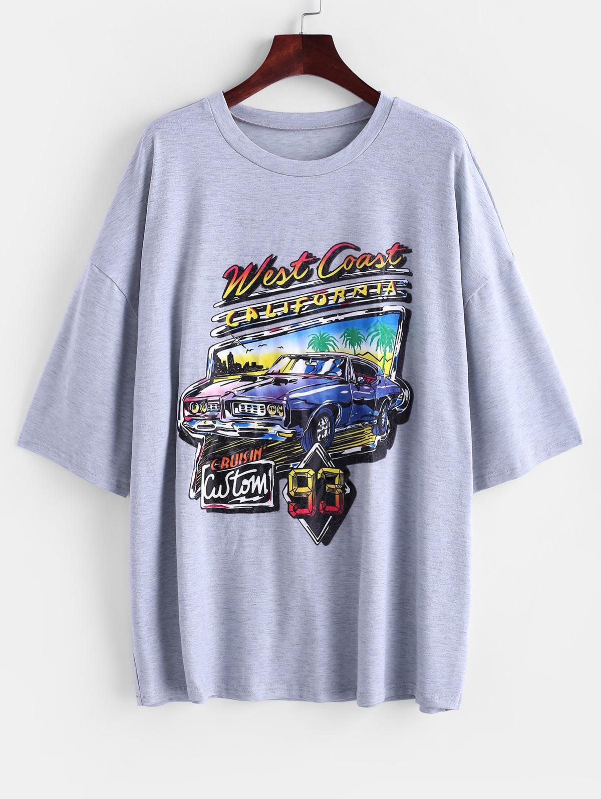 Letter Car Print Drop Shoulder Longline T-shirt