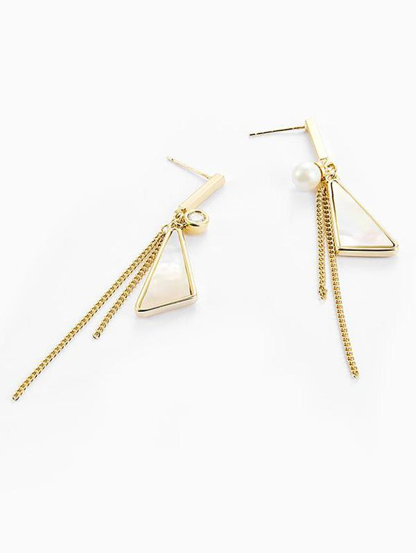 Triangle Tassel Shell Asymmetric Earrings