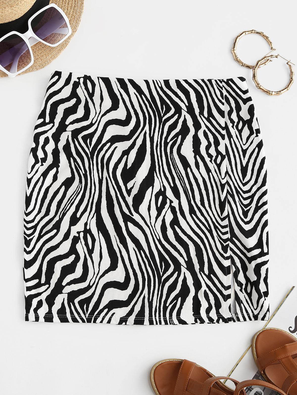 Zebra Animal Print Mini Tight Skirt