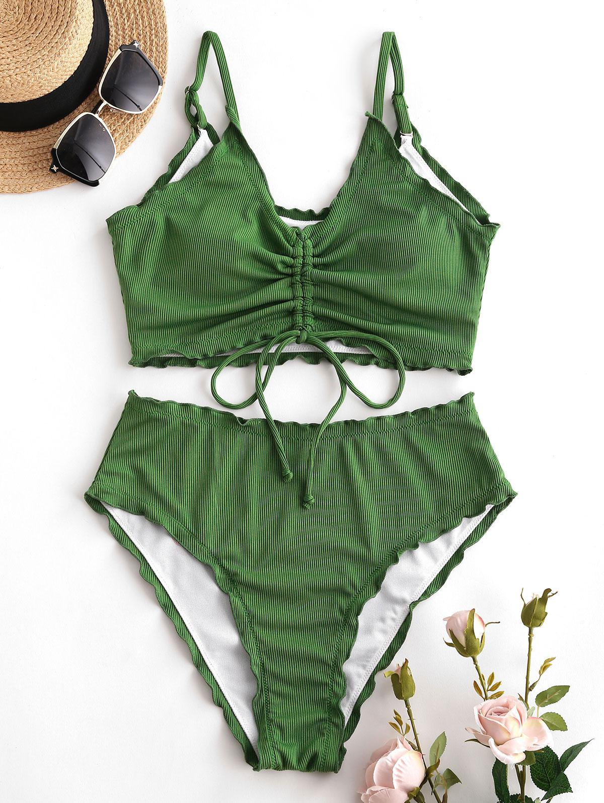 zaful Ribbed Cinched Tankini Swimwear