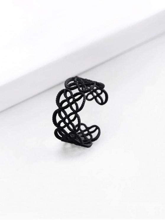 sale Hollow Cut Flower Shape Cuff Ring - BLACK US 7