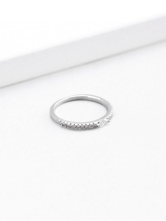 womens Artificial Diamond Round Shape Finger Ring - SILVER US 7