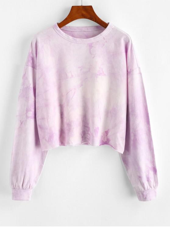sale ZAFUL Drop Shoulder Tie Dye Raw Hem Sweatshirt - LAVENDER BLUE XL