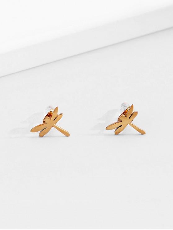 shops 18K Gold Plated Dragonfly Stud Earrings - GOLDEN