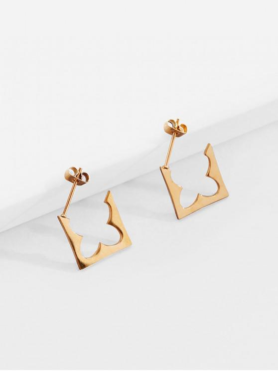 outfit 18K Gold Plated Geometric Earrings - GOLDEN
