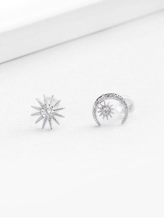 fancy Zircon Embellished Moon Star Shape Stud Earrings - SILVER