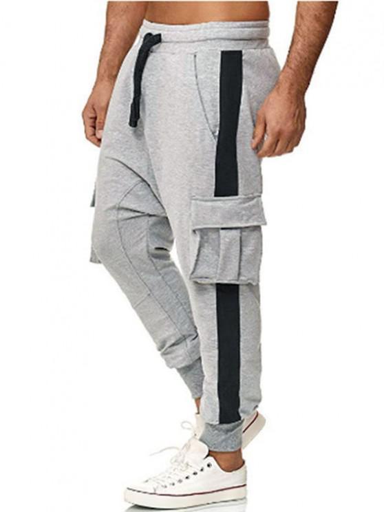 Farbblock Panel Klappe Tasche Elastische Taille Jogger Hose - Grau 3XL