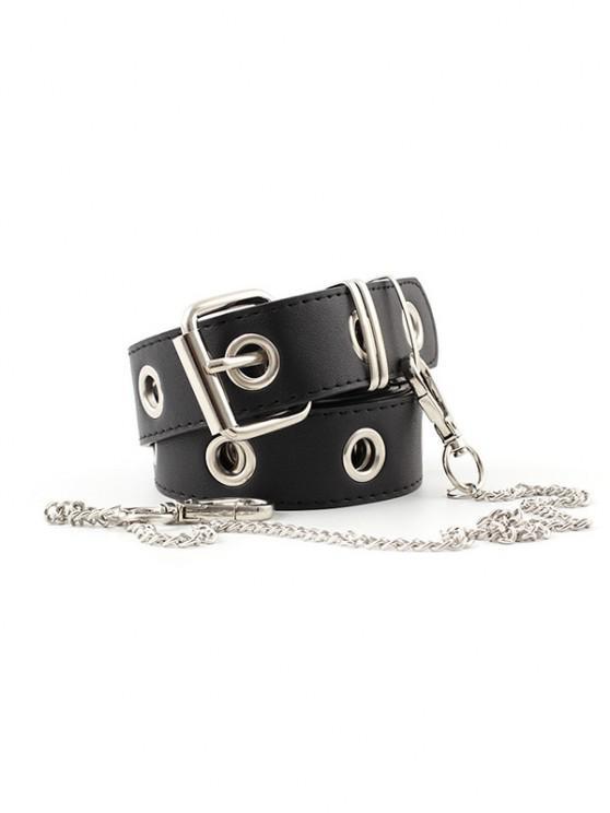 shop Punk O Ring Chain Buckle Belt - BLACK