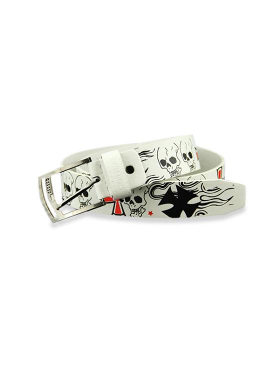 Punk Skull Print Decorative Belt - أبيض
