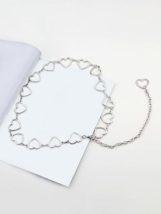 fashion Heart Shape Hollow Waist Chain - SILVER