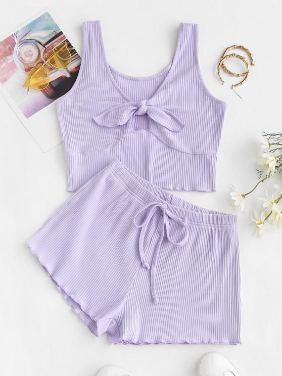 ZAFUL Knotted Ripped Tie Two Piece Shorts Set - ضوء ارجواني M