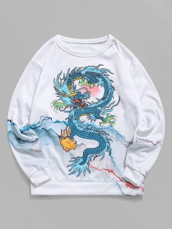 Sudadera Flocado Diseño Impreso Dragón Montaña - Blanco 2XL