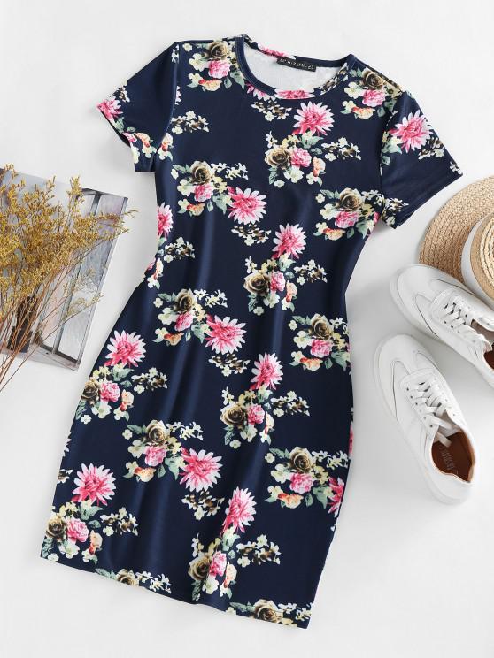 ZAFUL Vestido Esportivas com Estampa Floral - Cadetblue M