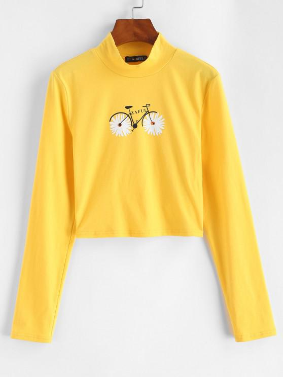 women's ZAFUL Mock Neck Daisy Bike Crop Tee - YELLOW S