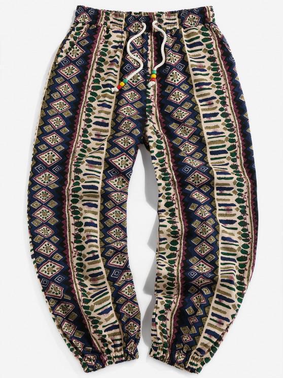 Calças de Casual com Cordão - Azul Escuro XL