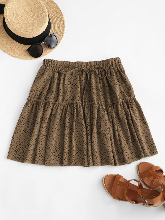 sale Dalmatian Print Tiered Skirt - COFFEE L