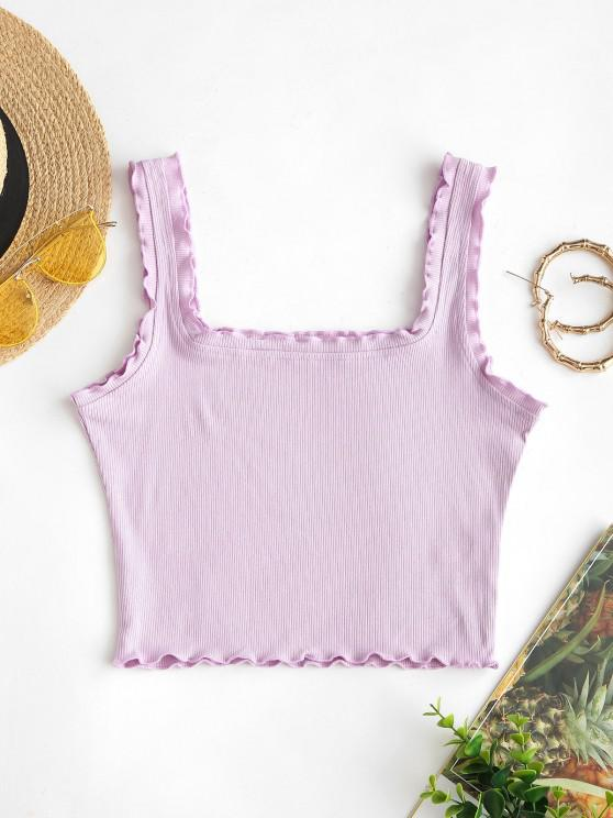 shops Ribbed Lettuce Trim Crop Tank Top - LILAC M