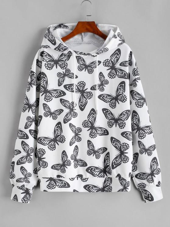 Drawstring Loose Butterfly Hoodie - أبيض XL