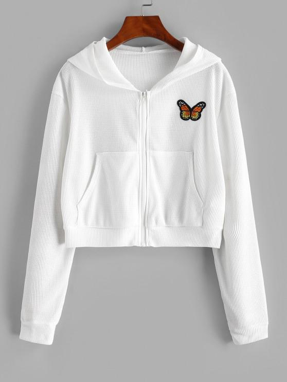 Zip Up Textured Butterfly Patched Hoodie - أبيض M