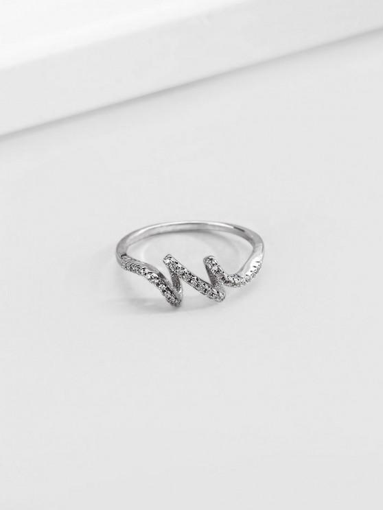 outfits Artificial Diamond Waves Shape Finger Ring - SILVER US 9