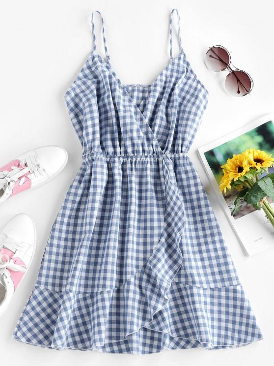 hot ZAFUL Plaid Ruffle Cami Wrap Dress - MULTI-A M