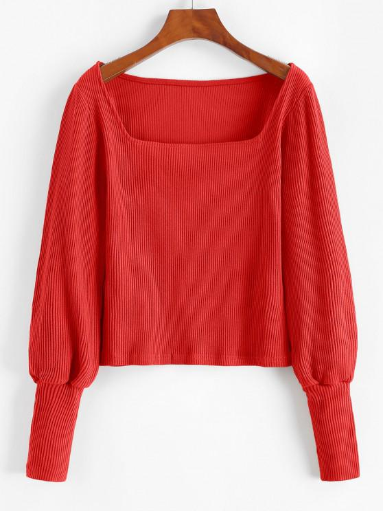 Ribbed Square Fitted Jumper Knitwear - الحمم الحمراء S