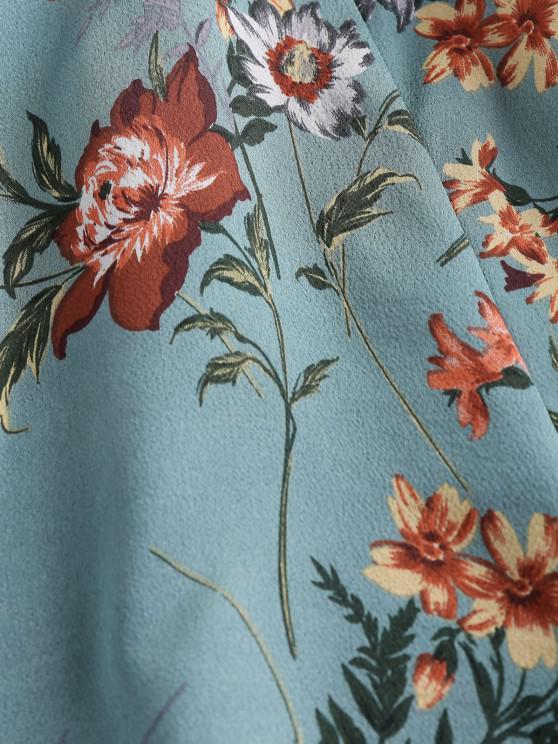 ZAFUL Floral Print Cutout Front Twist Romper - Medium Aquamarine L
