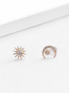 18K Gold Plated Zircon Embellished Moon Star Shape Stud Earrings - Golden