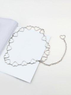 Heart Shape Hollow Waist Chain - Silver