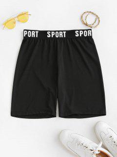 High Waisted Sport Graphic Biker Shorts - Black S