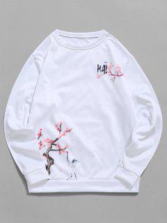 Peach Blossom Flying Crane Letter Print Flocking Sweatshirt - White M