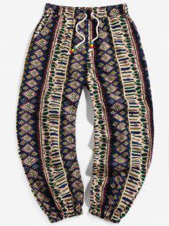 Tribal Printed Drawstring Casual Pants - Deep Blue Xl
