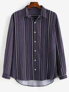 Camisa Rayada Estampado Tribal Botón - Concordia L