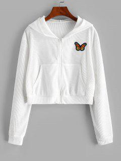 Zip Up Textured Butterfly Patched Hoodie - White S