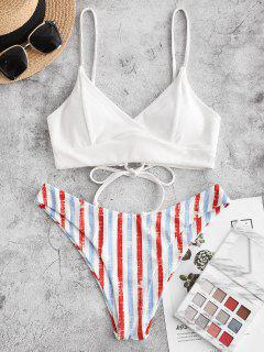 ZAFUL Ribbed Striped Lace-up Surplice Bikini Swimwear - Light Pink S