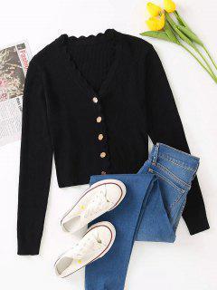 Button Up V Neck Crop Cardigan - Black M