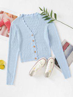Button Up V Neck Crop Cardigan - Powder Blue M