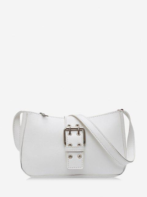 trendy Buckle Zipper French Shoulder Bag - WHITE  Mobile