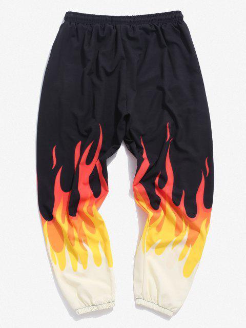 Feuer Flammen Druck Elastische Taille Hose - Gelb 3XL Mobile
