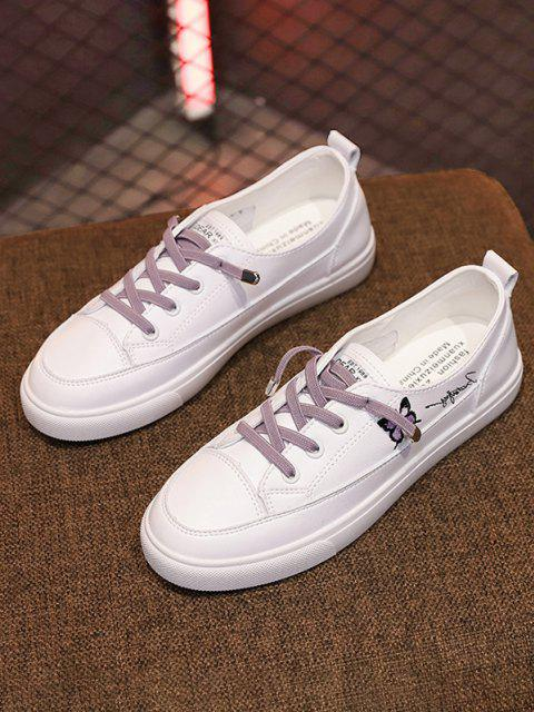 online Butterfly Embroidery Lace Up Sports Shoes - MAUVE EU 39 Mobile