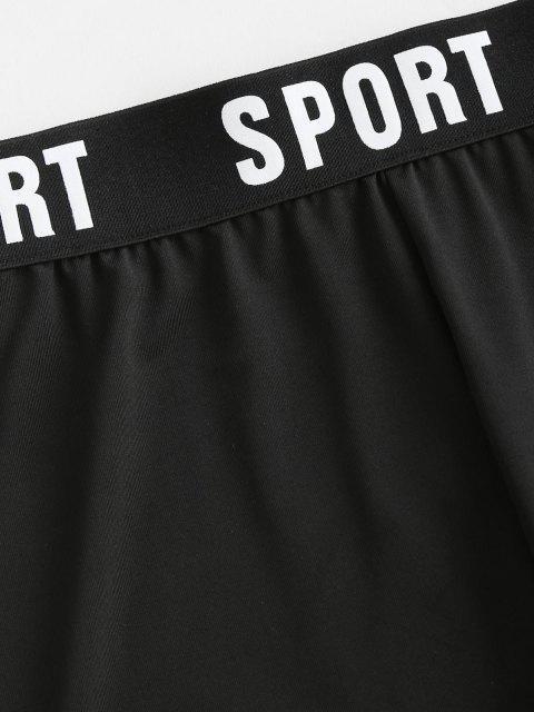 Short de Cycliste de Sport Graphique à Taille Haute - Noir S Mobile