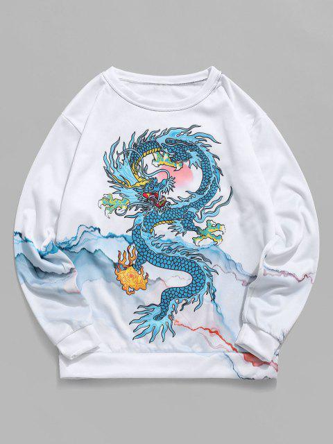 ladies Mountain Oriental Dragon Print Flocking Sweatshirt - WHITE M Mobile