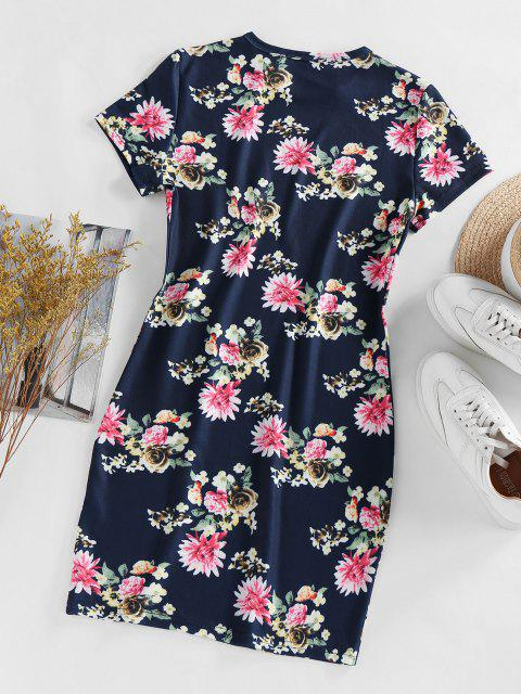 new ZAFUL Sports Floral Printed Dress - CADETBLUE M Mobile