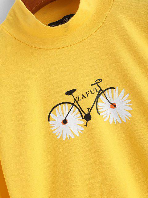 ZAFUL T-shirt Court Marguerite à Col Montant - Jaune L Mobile