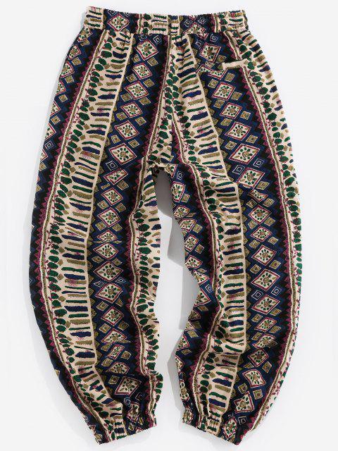 Pantalones Casuales de Estampado Tribal y Cordones - Azul Profundo XL Mobile