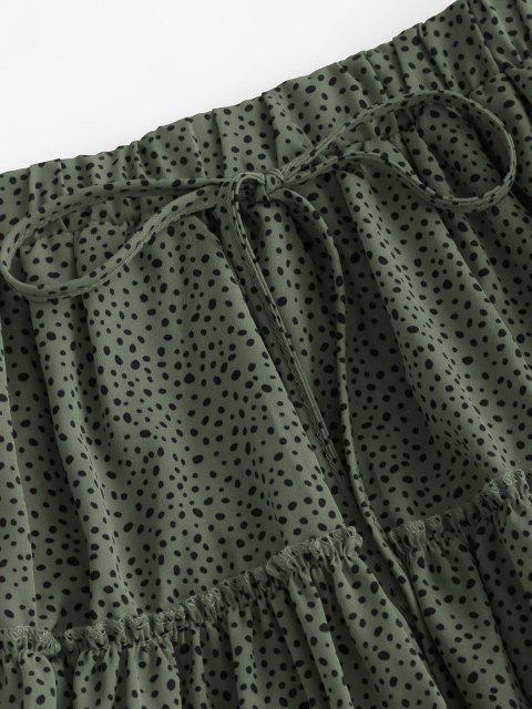 ladies Dalmatian Print Tiered Skirt - GREEN S Mobile