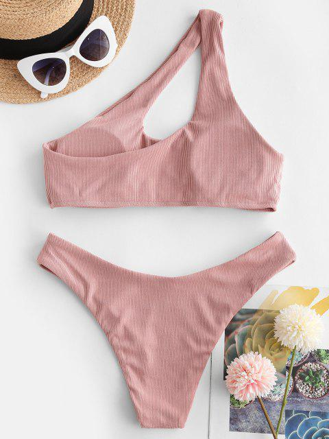 outfit ZAFUL Ribbed One Shoulder Cutout Bikini Swimwear - ROSE S Mobile