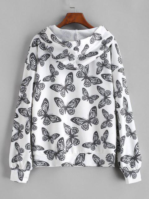 Sweat à Capuche Lâche Papillon à Cordon - Blanc L Mobile